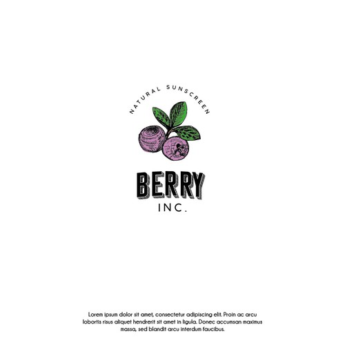 Fresh food logo with the title 'Hand Drawn Berry'