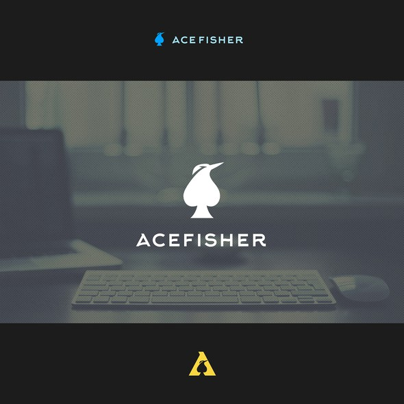 Digital marketing logo with the title 'Logo design for AceFisher'