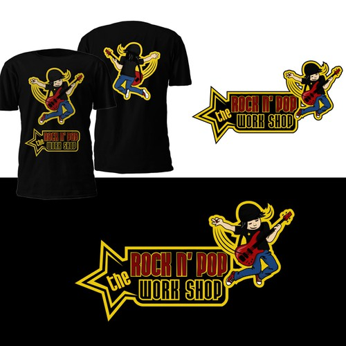 """Pop culture logo with the title 'Logo design for the """"Rock N' Pop"""" work shop for the children'"""