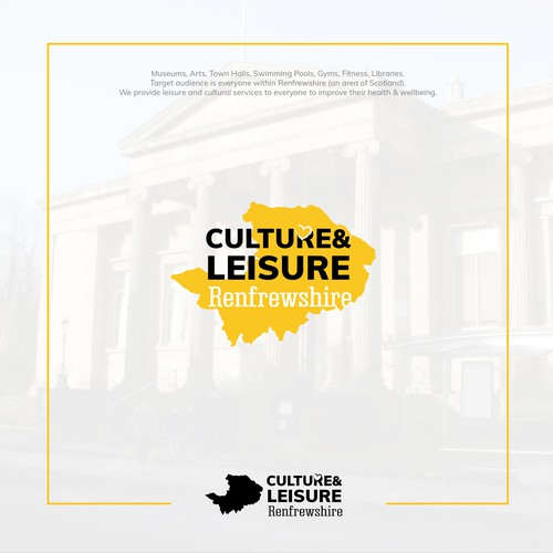 Scottish logo with the title 'Culture & Leisure Renfrewshire -  leisure and cultural services'