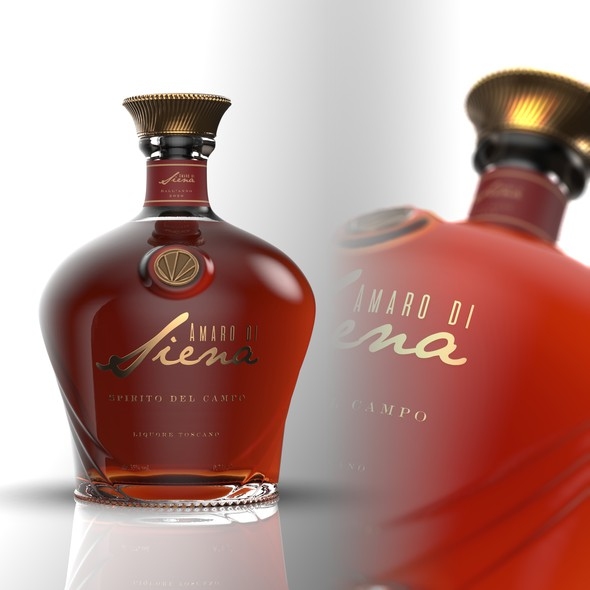 Bottle packaging with the title 'AMARO Bottle + label design'