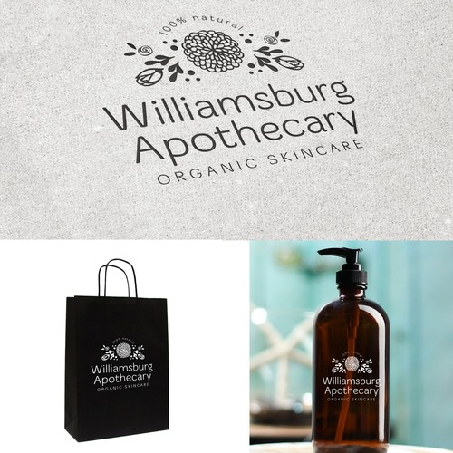 Apothecary design with the title 'Create a modern, simple, organic logo for Williamsburg Apothecary'