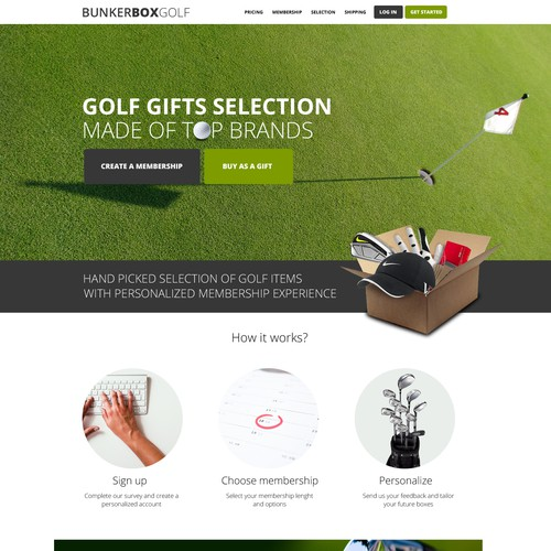 Golf website with the title 'Golf Subscription Box Website'