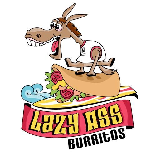 Vintage surf logo with the title 'Crazy Donkey Burritos Logo'