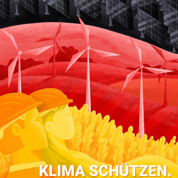 Solar panel design with the title 'Creative redesign of electoral posters in Germany'