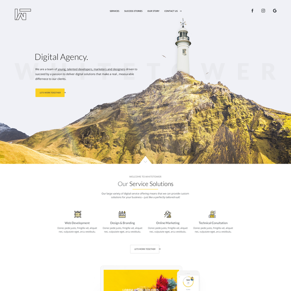 Yellow and black design with the title 'Website for Whitetower '