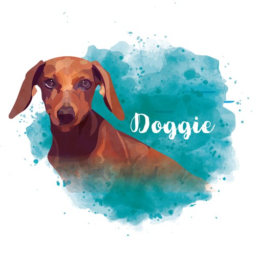 Dachshund logo with the title 'Illustration for a dog products website'
