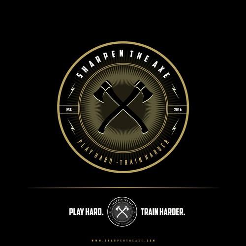 Axe design with the title 'Sharpen The Axe - Logo Design'