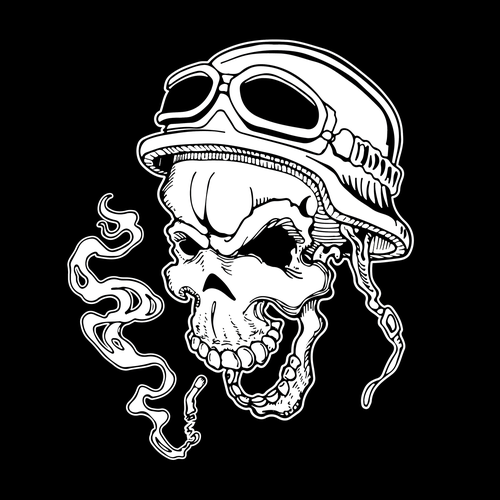 Comic t-shirt with the title 'Biker skull smoking.'