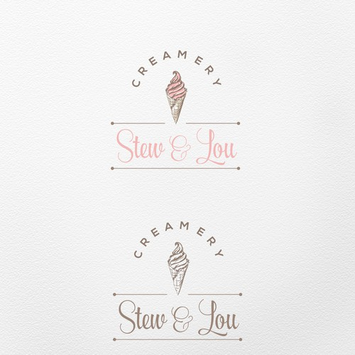 Handmade logo with the title 'Hand drawn logo for the Creamery'
