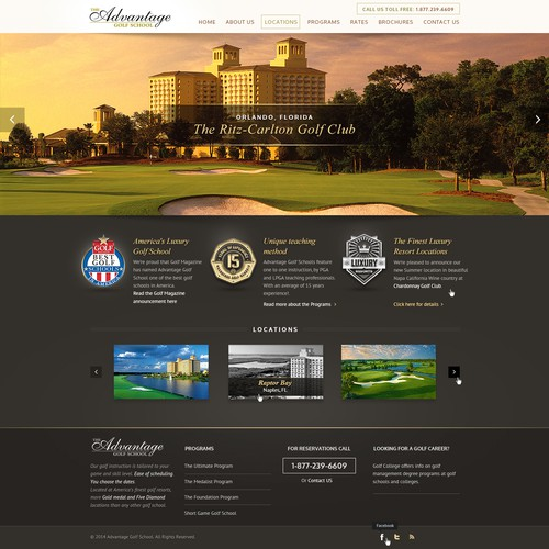 Professional website with the title 'Home page redesign for Luxury Golf School'