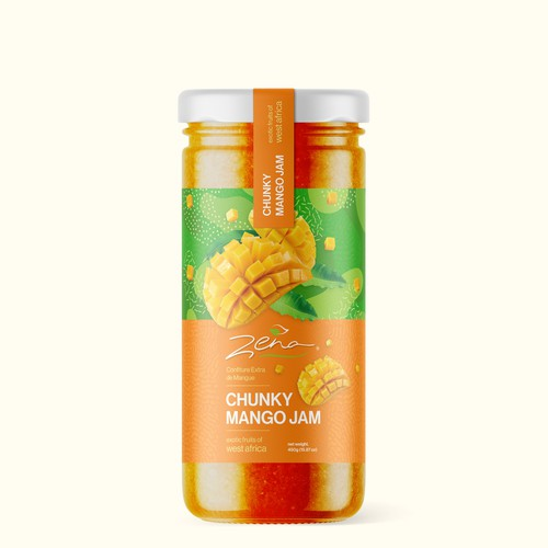 Food packaging label with the title 'Mango Jam Packaging'