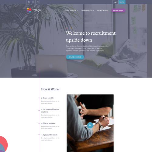 White and purple design with the title 'Recruitment agency website'