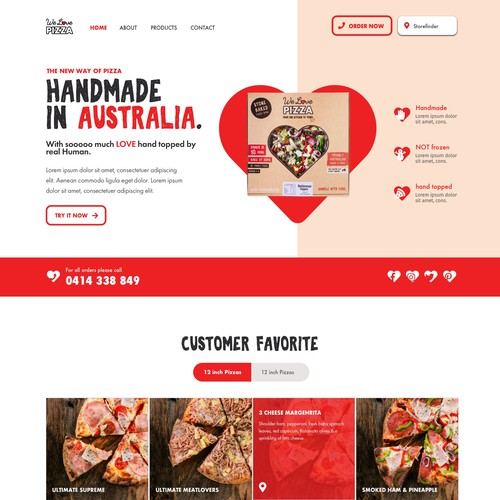 Pizza website with the title 'Webdesign for Pizzabrand'