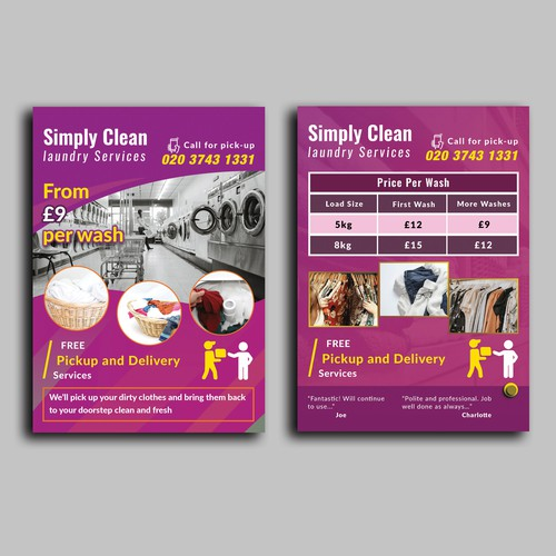 Business flyer design with the title 'Flyer For Laundry Services'