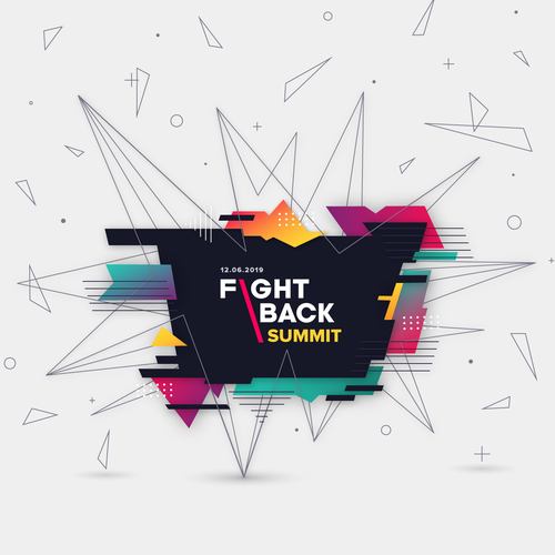 Explosion design with the title 'Abstract Graphic for the Fightback Summit event'