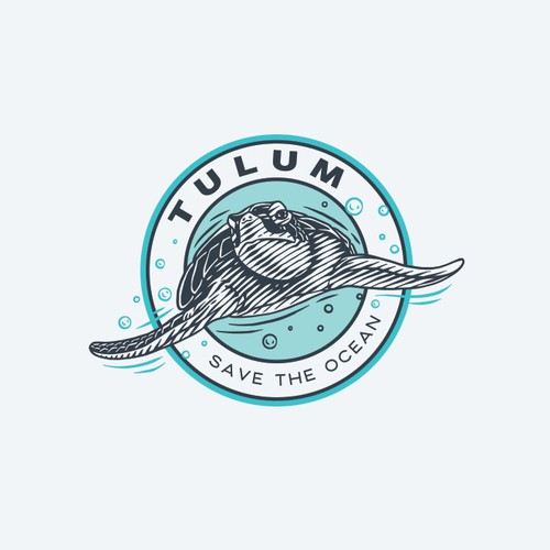 Tortoise logo with the title 'Sea Turtle Scratchboard Logo Design'