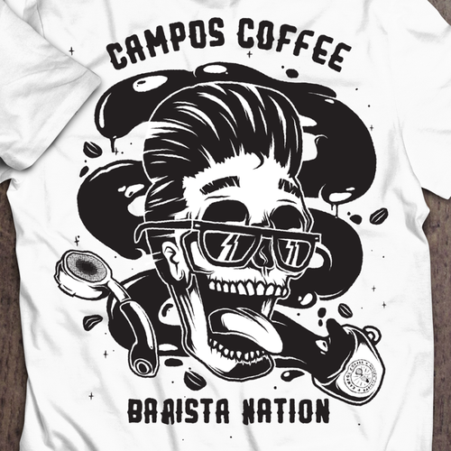 Barista design with the title ''Rockabilly' design entry for Campos Coffee'