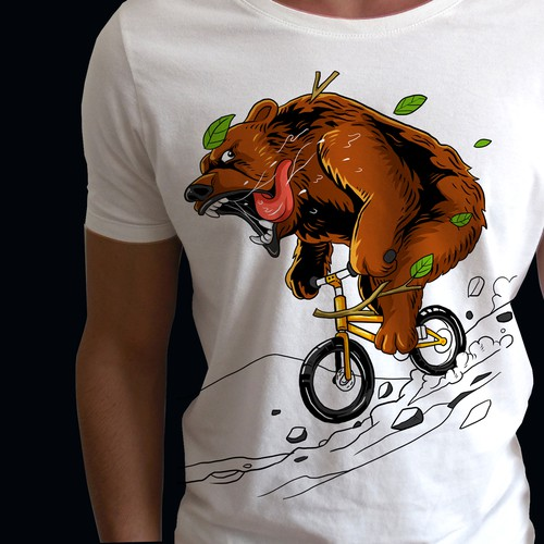 Awesome t-shirt with the title 'Downhill bear'