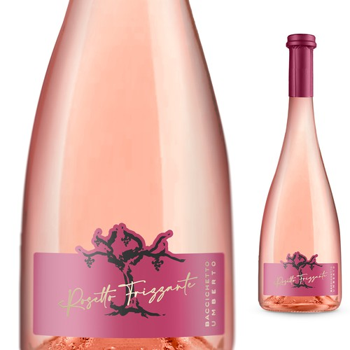 Sparkling wine label with the title 'Label for sparkling wine rosé'