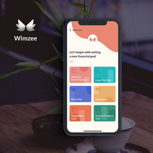 Meditation design with the title 'iPhone App Design - Financial Planning App '