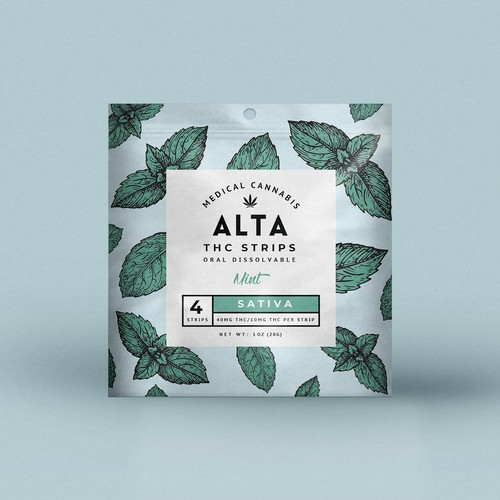 Weed packaging with the title 'Packaging Design for ALTA'