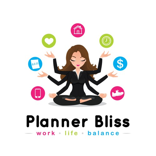 Business design with the title 'Graphic of meditating woman with many arms'