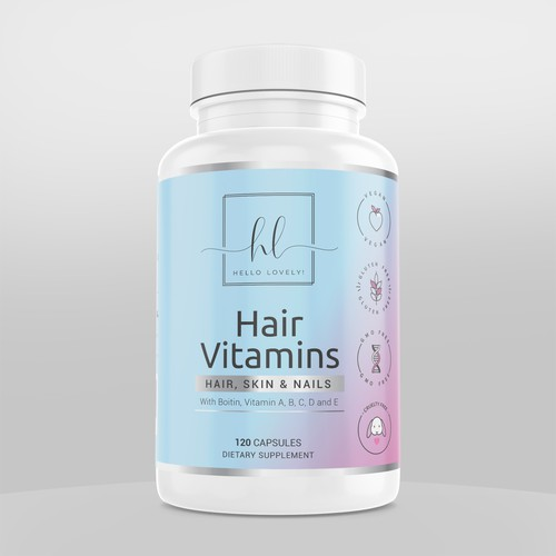Modern label with the title 'Supplement bottle label design - Vitamins for Women'