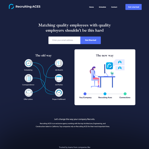 Old-fashioned design with the title 'Recruting aces landing page concept #2'
