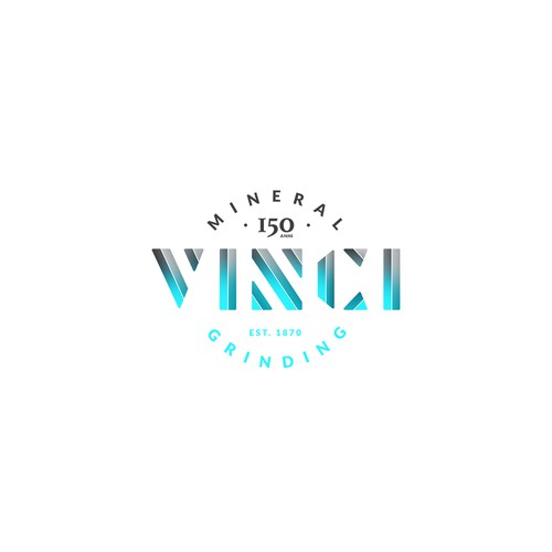 Anniversary logo with the title 'Vinci Mineral Grinding'