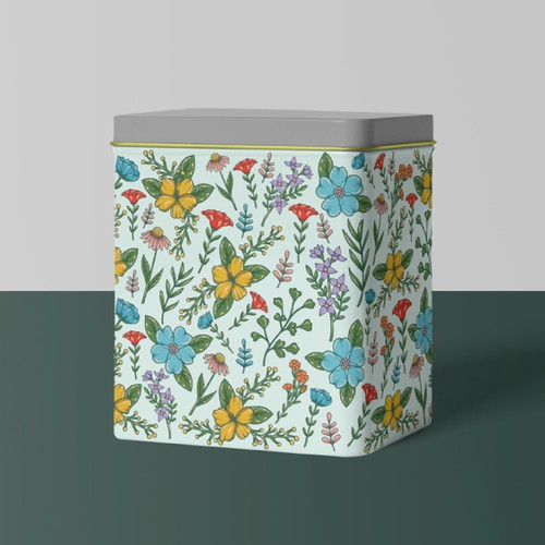Branding illustration with the title 'Vintage Inspired Floral Pattern for a Tin Recipe Box'