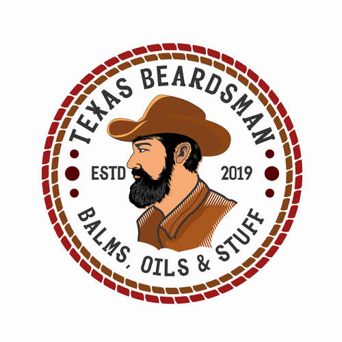 Beard oil logo with the title 'Texas Beardsman'
