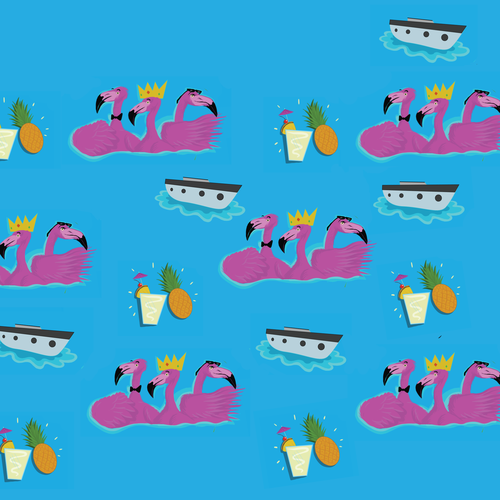 Ship illustration with the title 'Flamingo cruise coctel party '