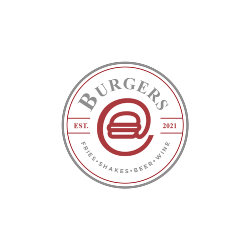 Purple and red logo with the title 'Burgers@'