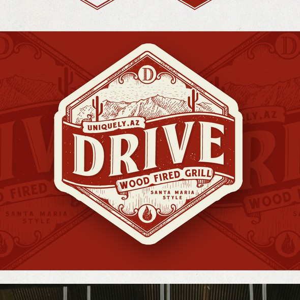 BBQ brand with the title 'Logo Design for Drive- Wood Fired Grill'