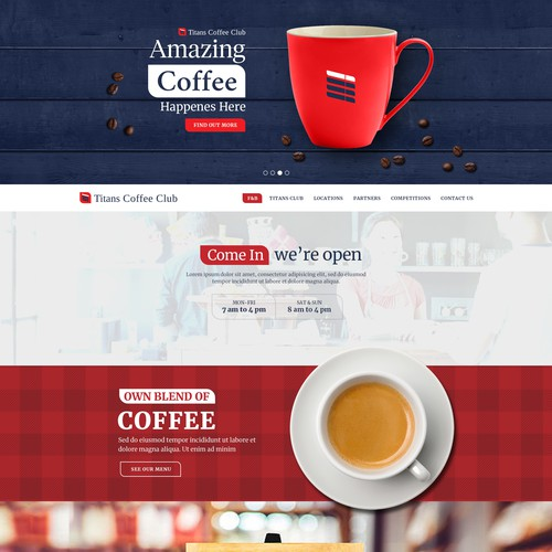 Coffee website with the title 'Out of The Coffee Shop Design'