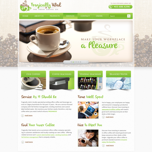Coffee design with the title 'Tragically Vital the Fresh Coffee Co. needs a new website design'
