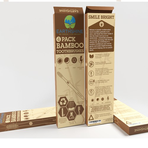 Bamboo packaging with the title 'Fun and playful box for Earthshine Bamboo Toothbrushes'