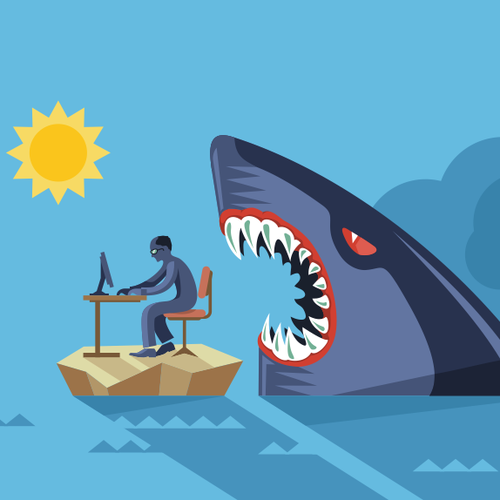 Blue illustration with the title 'Shark Frenzy attack'