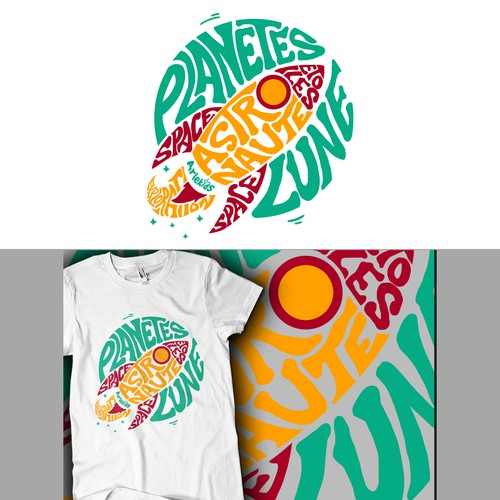 Planet t-shirt with the title 'ROCKET Graphic Tees Design'