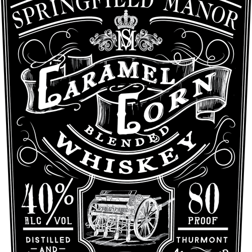 Bottle label with the title 'Whiskey label'