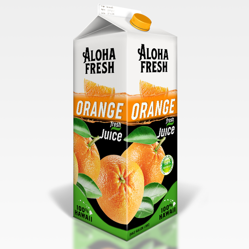 Orange label with the title 'Bold & fresh design of juice'