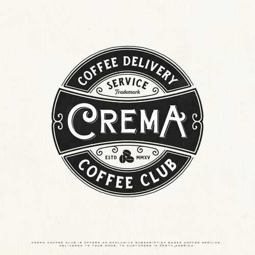 Rustic design with the title 'Crema Coffee Club'
