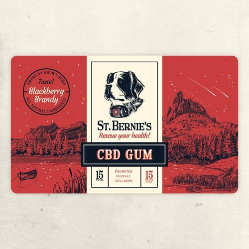 Luxurious label with the title 'St. Bernie's dog CBD Gum label design'