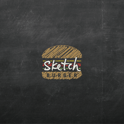 Burger design with the title 'Sketch burger logo'
