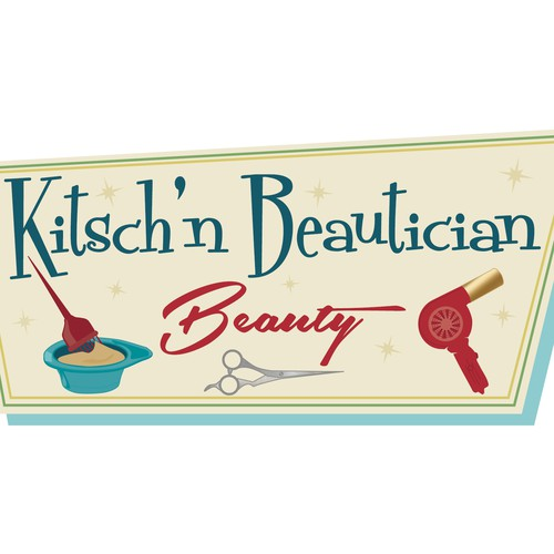 Coloring design with the title 'Kitsch'n Beautician Beauty'