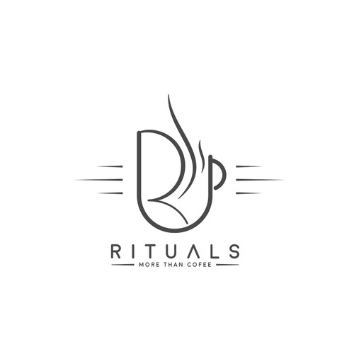 R logo with the title 'Rituals logo design for a Bar & Restaurant (Coffee House)'