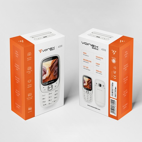 Phone packaging with the title 'Vonex mobile phone Packaging Design'