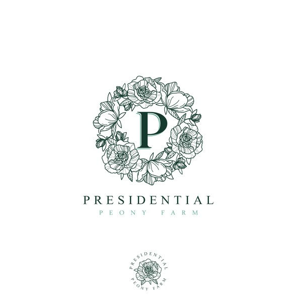 Flower wreath logo with the title 'Logo for Presidential Peony Farm'