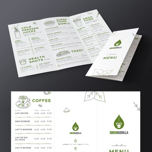 """Healthy food design with the title 'Menu for healthy cafes """"Green Gorilla"""" in Switzerland'"""
